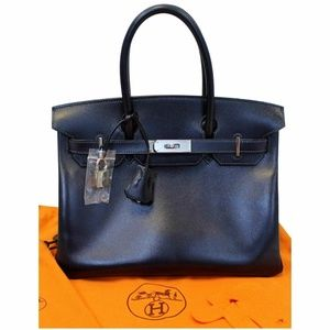 HERMES Birkin 30cm Smooth Calf Leather Navy Blue